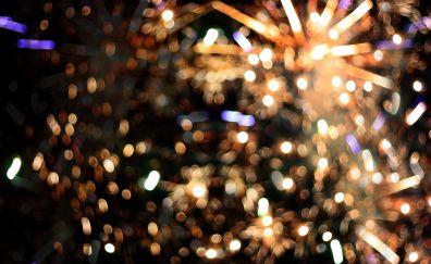 Bokeh, celebrations, lights, fireworks, 2018, 4k