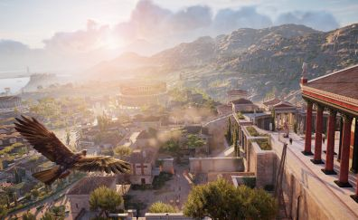 Assassin's Creed Origins, game, city, aerial view, 4k