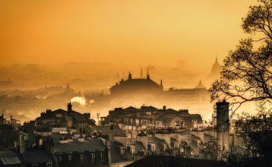 Paris, city, horizon, sunset, fog, aerial view
