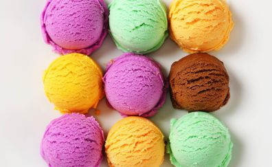 Colorful, ice cream, summer, dessert, 4k