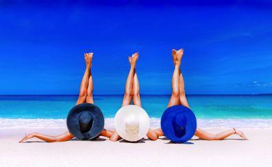 Legs up, holiday, summer, beach, hat