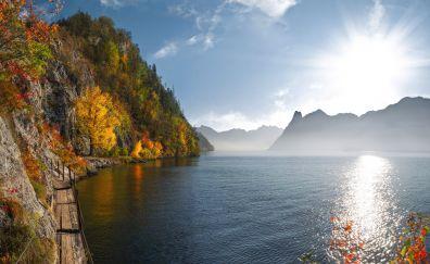 Lake, sunlight, nature, sky, mountains, 4k
