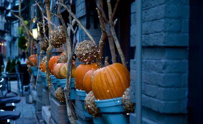 Halloween, decorations, pumpkin, street