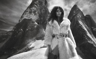Lily Aldridge, model, celebrity, monochrome