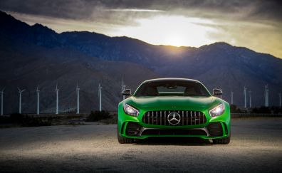 Mercedes-AMG GT R, green sports cars, 2018, front, 4k
