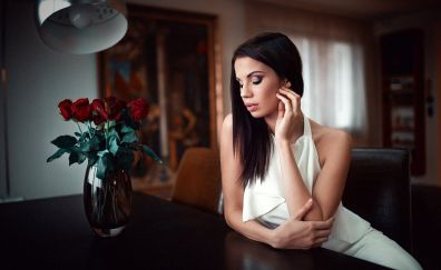 White dress, roses, vase, girl model