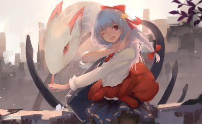 Wink, white hair anime girl, school uniform, original