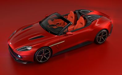 Top view, Aston Martin Vanquish, red car, 4k