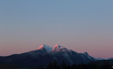 Golden Ears, Canada, mountains, sunset, clean skyline