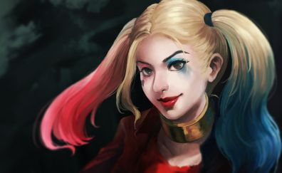 Harley quinn, art, villain, twintails