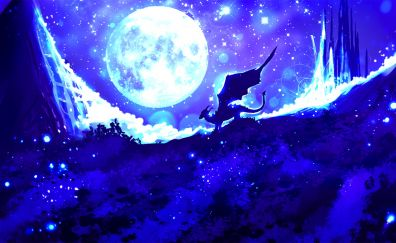 Dragon, night, moon, illustration, art