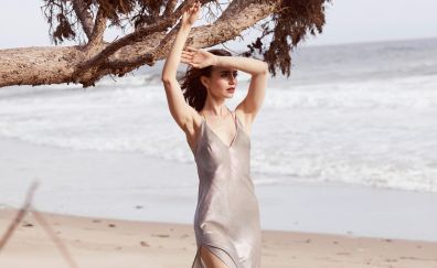 Lily Collins, arms up, beach