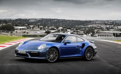 Porsche 911 Turbo, blue, sports car, side view