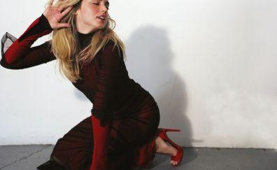 Red dress, actress, blonde, Ana de Armas