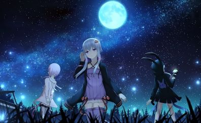 Yuzuki Yukari, Vocaloid, night, girls, friends