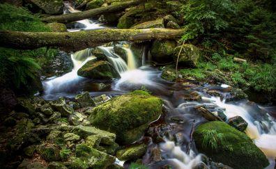 Beautiful, waterfall, nature, rocks, moss, 5k