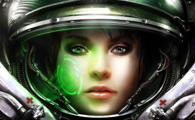 StarCraft II: Wings of Liberty, video game, girl, astronaut