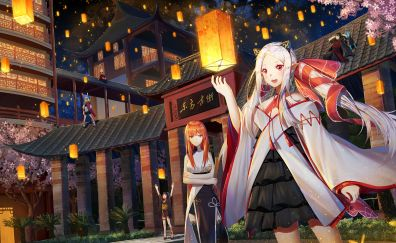 Lantern, decorations, anime girls, forever 7th capital