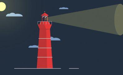 Lighthouse, clouds, digital art