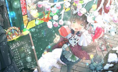 Christmas, anime girl, happiness