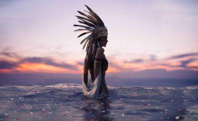 Sunset, ritual, girl model, cosplay, art