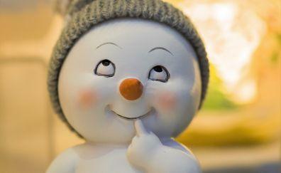 Cute snowman, artwork, toy, 5k