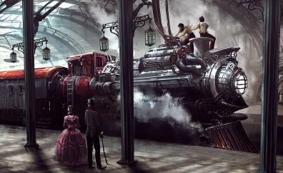 Trains, train station, platform, artwork