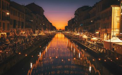 Milan, city, river, night, lights, celebrations, 4k