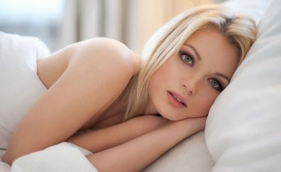 Lying down, bed, blonde, woman