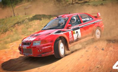 Dirt 4, video game, race, red car