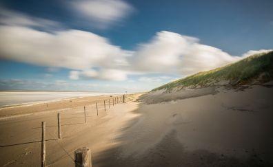 Beach, landscape, sand, fence