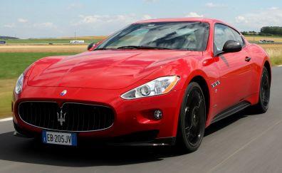 Red car, Maserati Granturismo, luxury vehicle