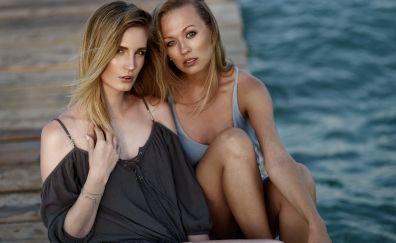Blonde girls, model, outdoor