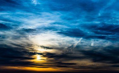 Clouds, sky, sunset, beautiful