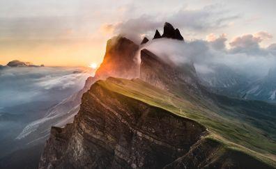 Dolomites, mountains range, landscape, clouds, 5k