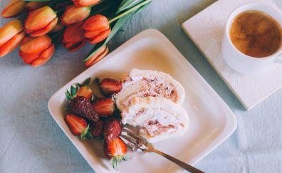Roll filled, strawberry, dessert, tulips, breakfast