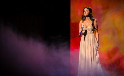 Selena gomez, on live event, singer, 4k