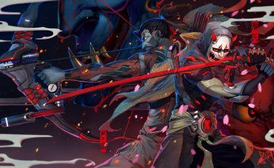 Genji, hanzo, archer, katana, overwatch, online game, art