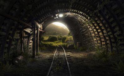 Human made Cave, Tunnel, tracks, lights