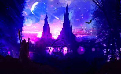 Two tower, anime, night, original, art