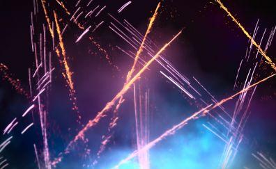 Glitters, night, celebrations, fireworks