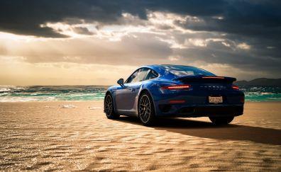 Porsche 911 Turbo at beach, blue, sports car