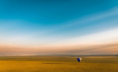 Hot air balloon, clean sky, landscape