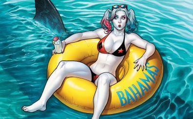 Harley quinn, villain, bikini, art