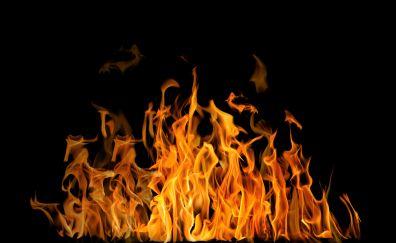 Fire, flames, dark, 4k