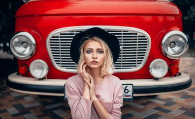 Blue eyes, red car, girl model