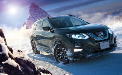 Black SUV car, Nissan X-Trail, 4k