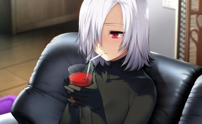 Akeiro Kaikitan, white hair, drinking, anime girl
