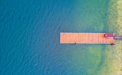 Pier, lake, summer, vacation, holiday, aerial view, 4k