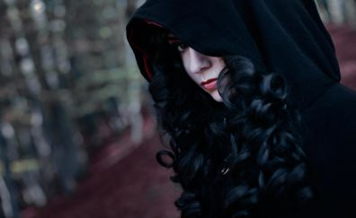 Curly hair, cosplay, witcher, hoodies, girl model